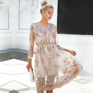 Romantic Mesh Dress with Rose Gold Sequins